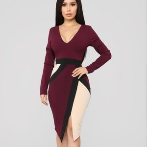 Fashion Nova Stay Solid Colorblock Dress